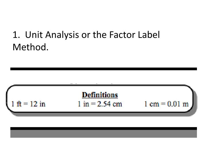 1.  Unit Analysis or the Factor Label Method.