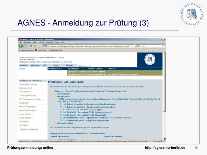AGNES - Anmeldung zur Prüfung (3)