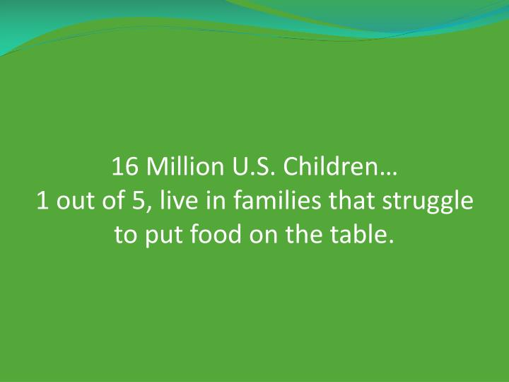16 Million U.S. Children…