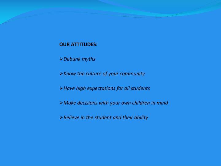 OUR ATTITUDES: