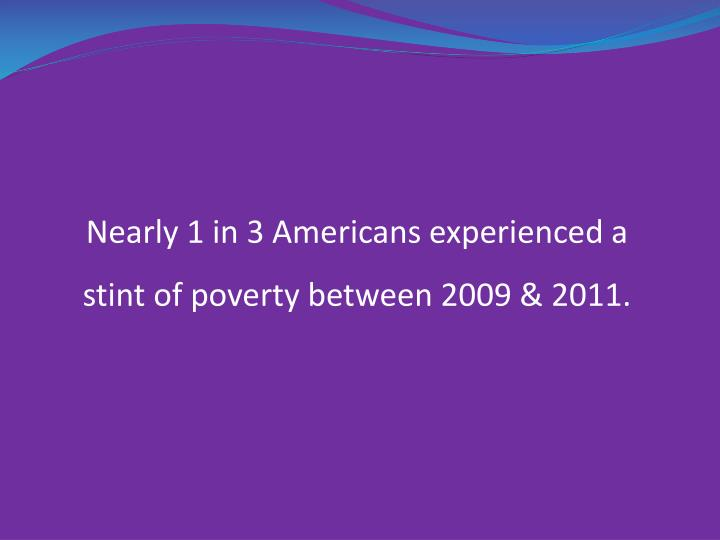 Nearly 1 in 3 Americans experienced a stint of poverty between 2009 & 2011.