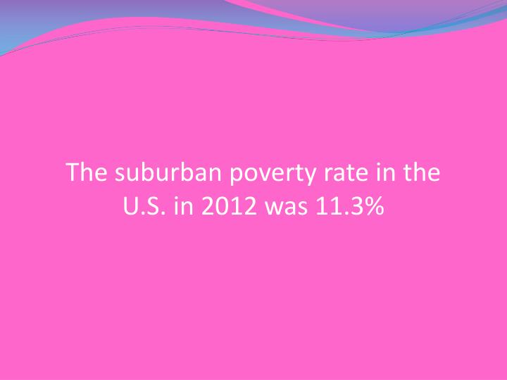The suburban poverty rate in the U.S. in 2012 was 11.3%