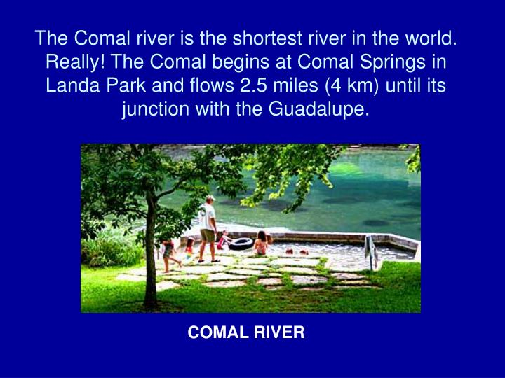The Comal river is the shortest river in the world. Really! The Comal begins at Comal Springs in Landa Park and flows 2.5 miles (4 km) until its junction with the Guadalupe.