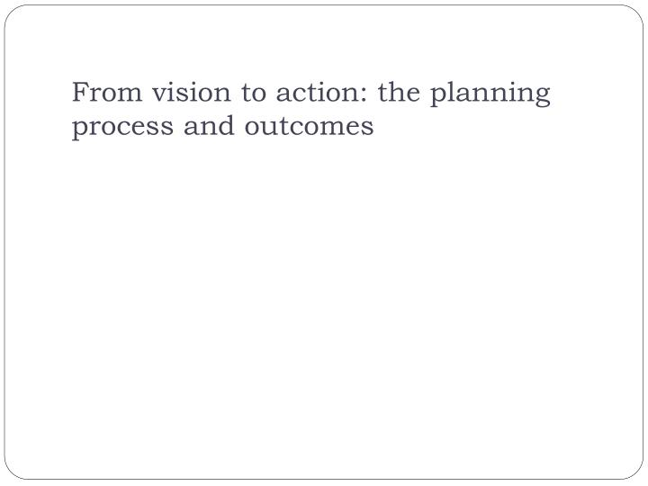 From vision to action: the planning process and outcomes