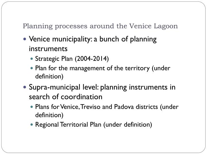 Planning processes around the Venice Lagoon