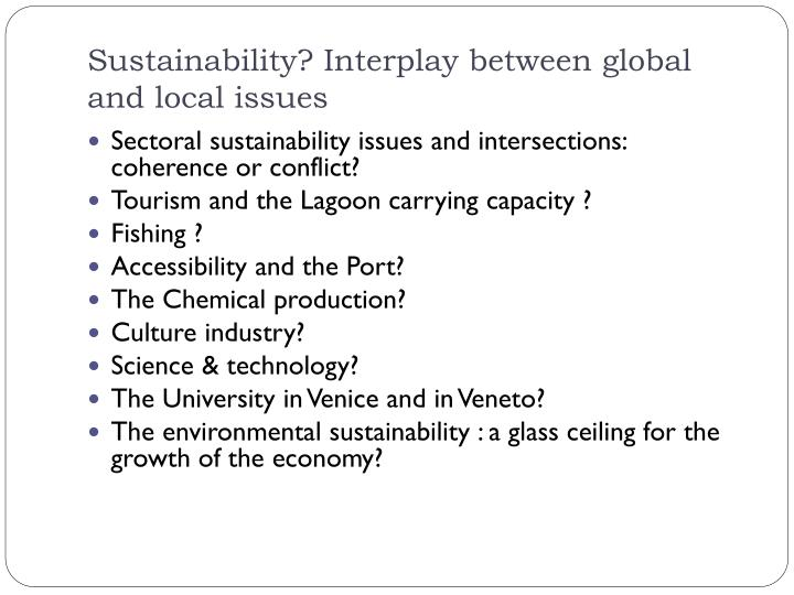 Sustainability? Interplay between global and local issues