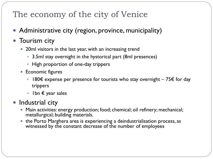 The economy of the city of Venice