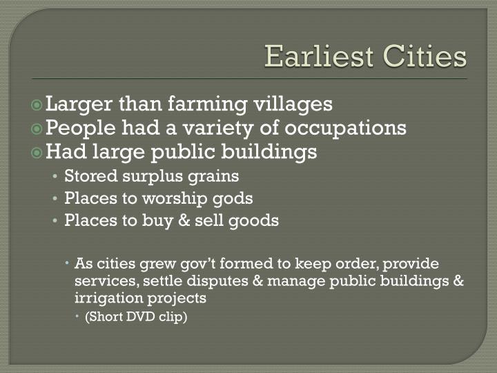 Earliest Cities