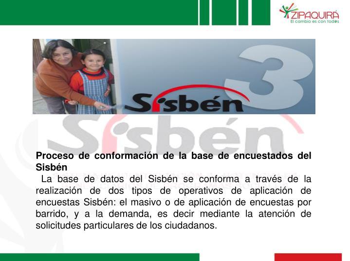 Proceso de conformación de la base de encuestados del Sisbén