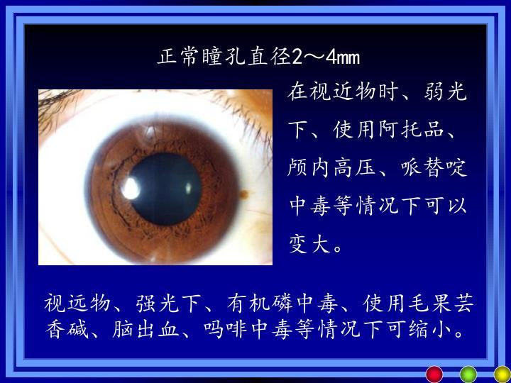 正常瞳孔直径