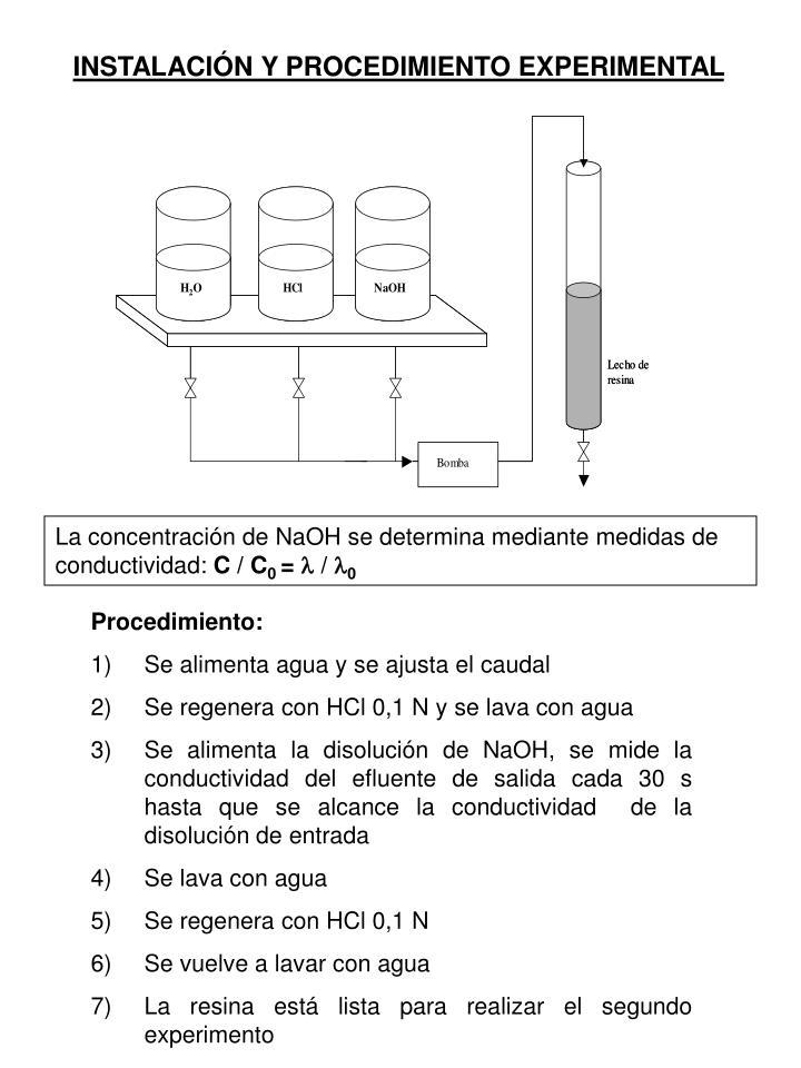 INSTALACIÓN Y PROCEDIMIENTO EXPERIMENTAL