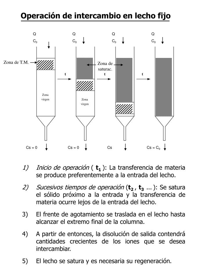 Operación de intercambio en lecho fijo