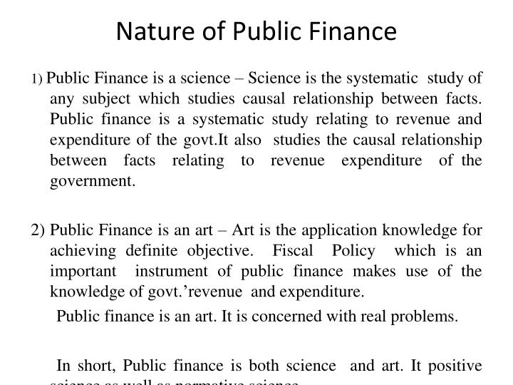 Nature of Public Finance