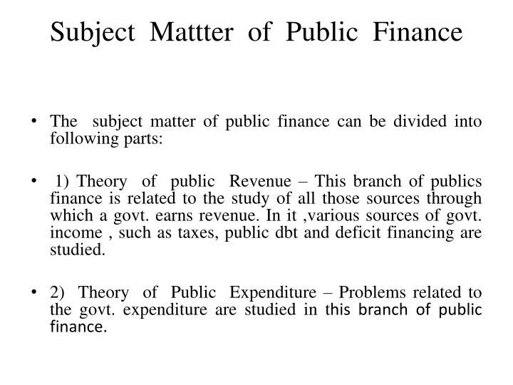 Subject mattter of public finance