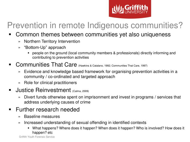 Prevention in remote Indigenous communities?