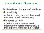 authorities in an organization