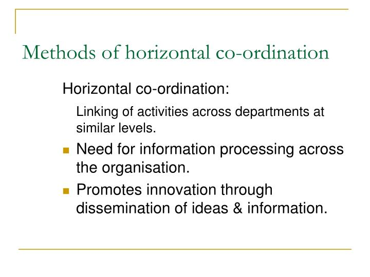 Methods of horizontal co-ordination