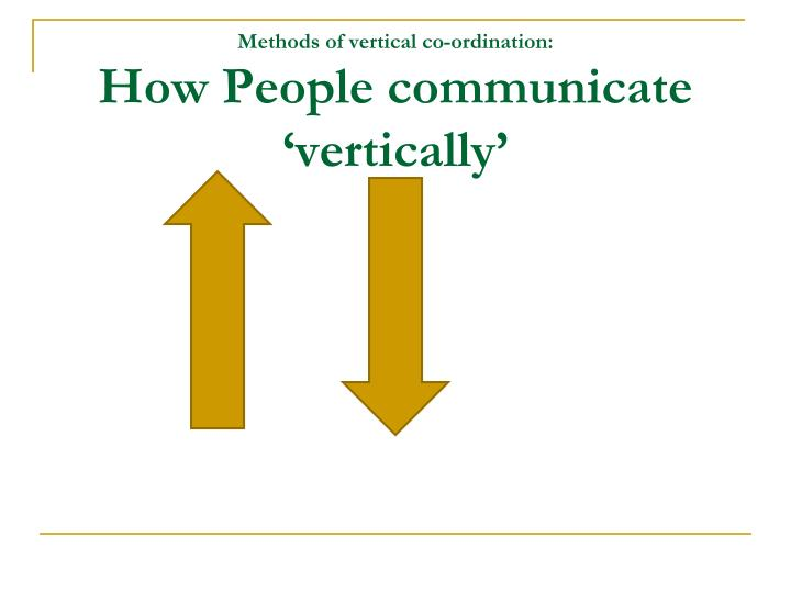 Methods of vertical co-ordination: