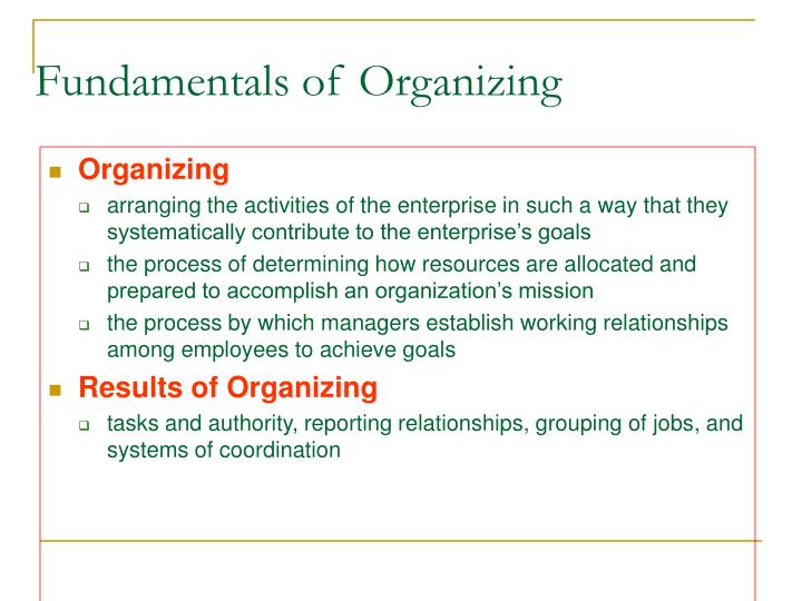 Fundamentals of Organizing