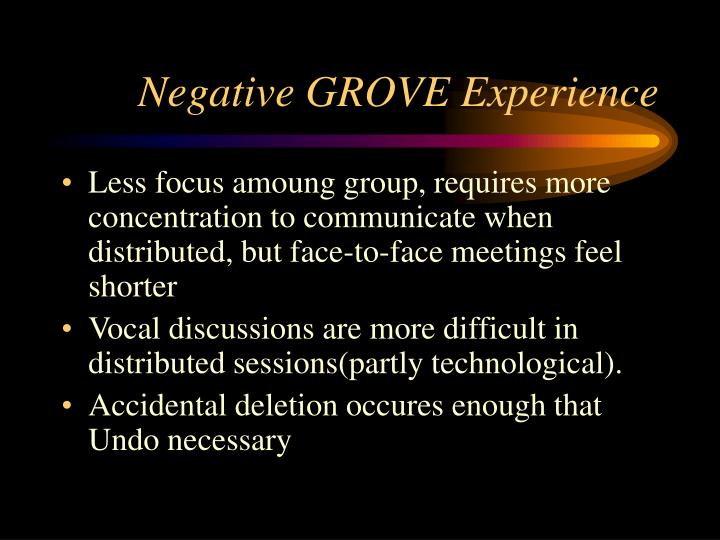 Negative GROVE Experience