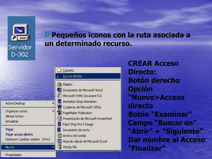 Pequeños iconos con la ruta asociada a un determinado recurso.