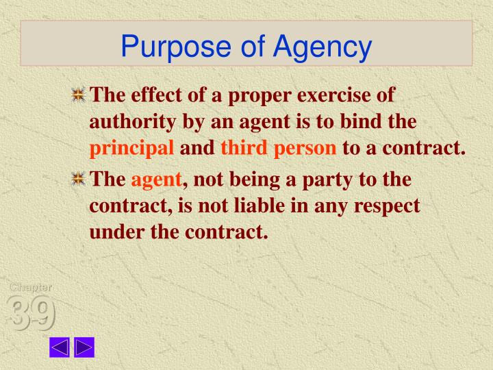 Purpose of Agency