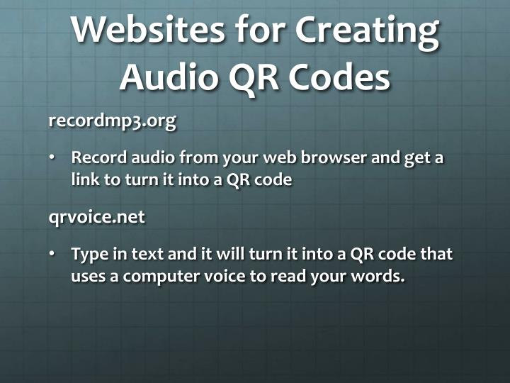 Websites for Creating Audio QR Codes