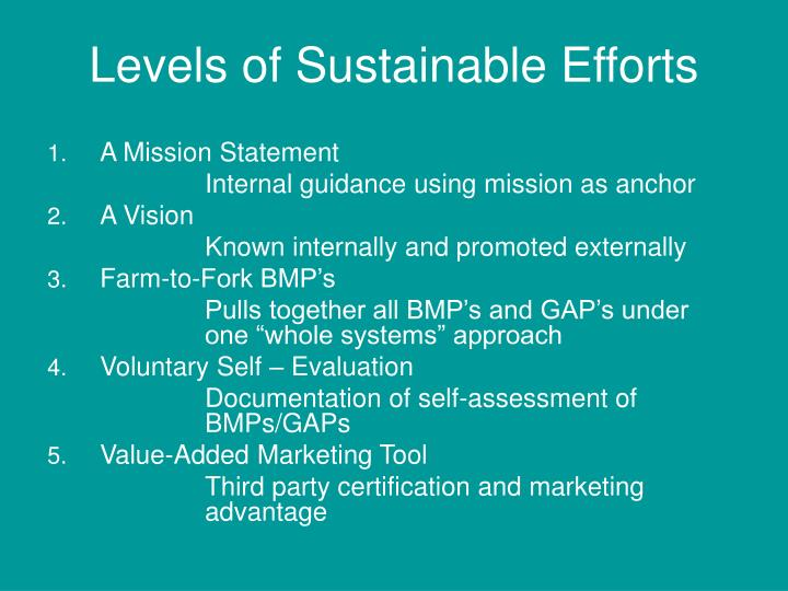 Levels of Sustainable Efforts