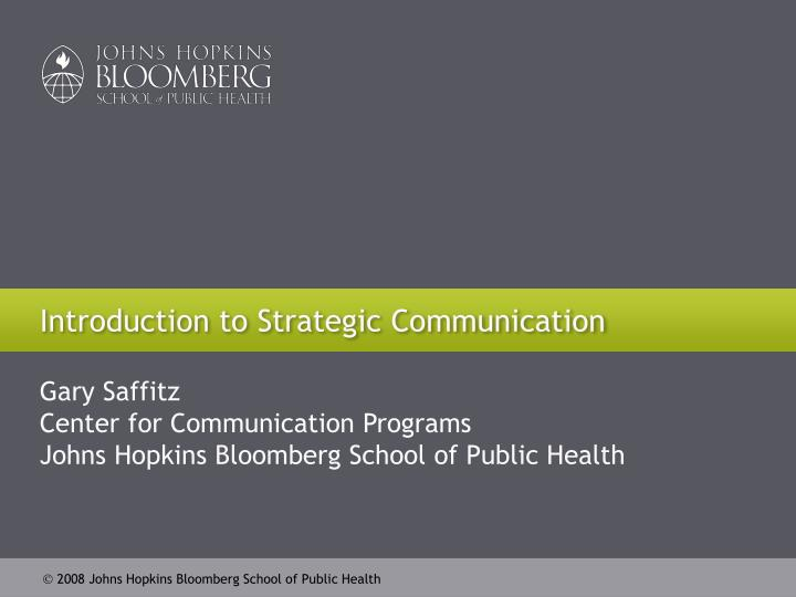 Introduction to strategic communication