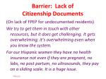 barrier lack of citizenship documents