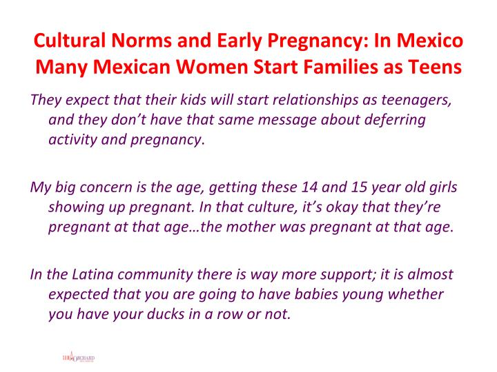 Cultural Norms and Early Pregnancy: In Mexico Many Mexican Women Start Families as Teens