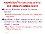 knowledge perspectives on pre and interconception health