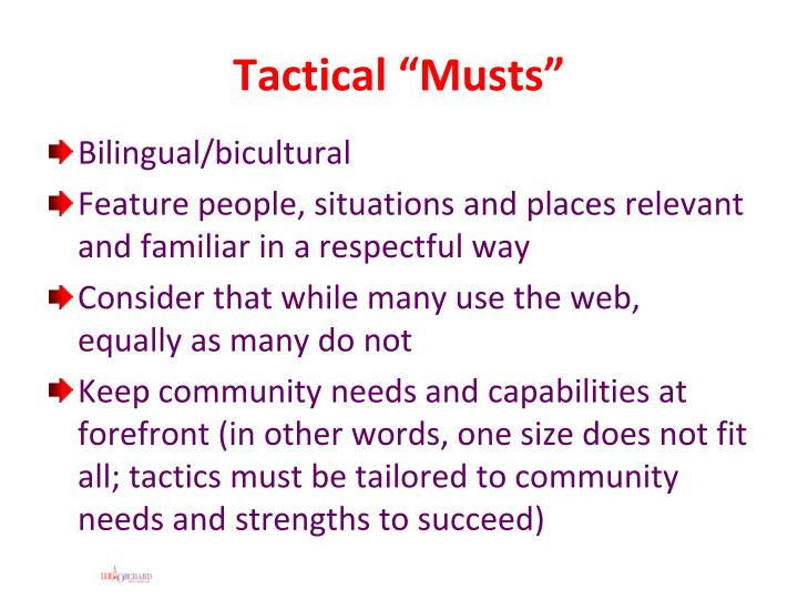 "Tactical ""Musts"""