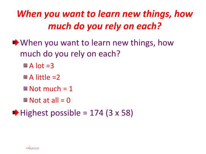 When you want to learn new things, how much do you rely on each?