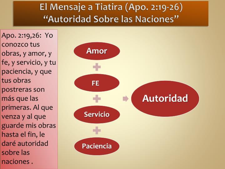 """El Mensaje a Tiatira (Apo. 2:19-26) """"Autoridad Sobre las Naciones"""""""