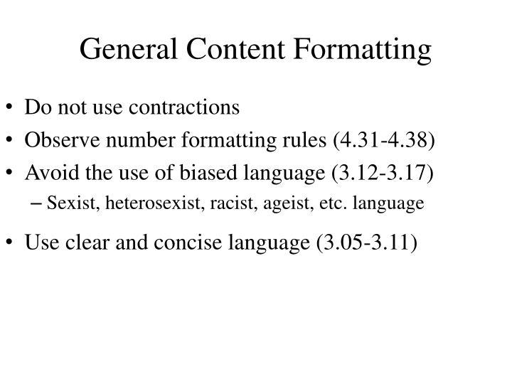 General Content Formatting