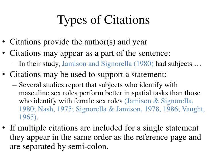 Types of Citations