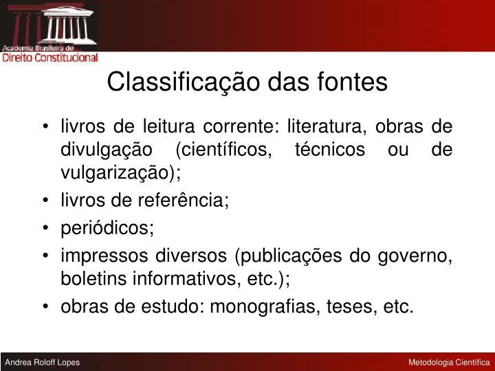 Classificação das fontes