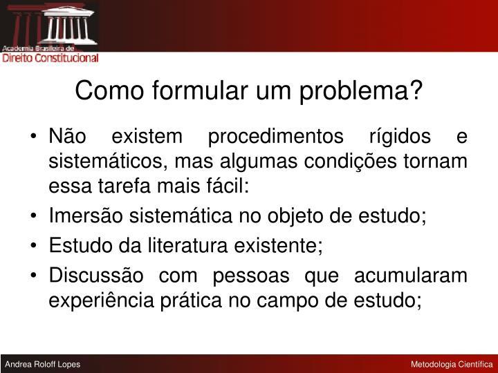 Como formular um problema?