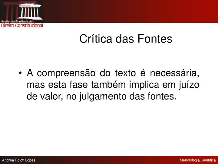 Crítica das Fontes