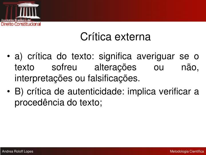 Crítica externa