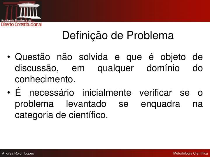 Definição de Problema