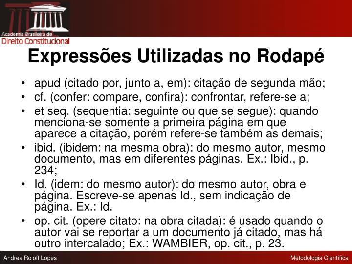 Expressões Utilizadas no Rodapé