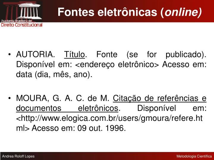 Fontes eletrônicas (