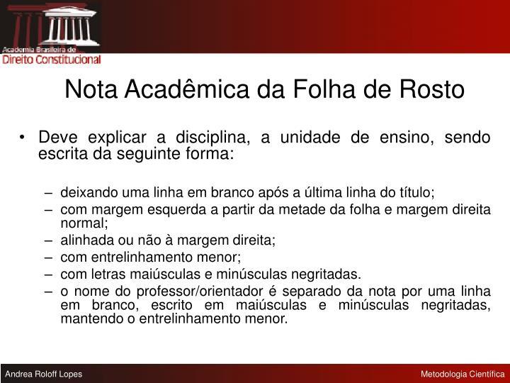 Nota Acadêmica da Folha de Rosto