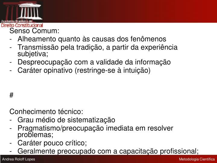 Senso Comum: