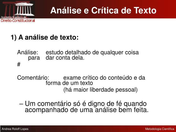 Análise e Crítica de Texto