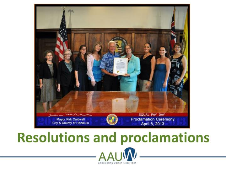 Resolutions and proclamations