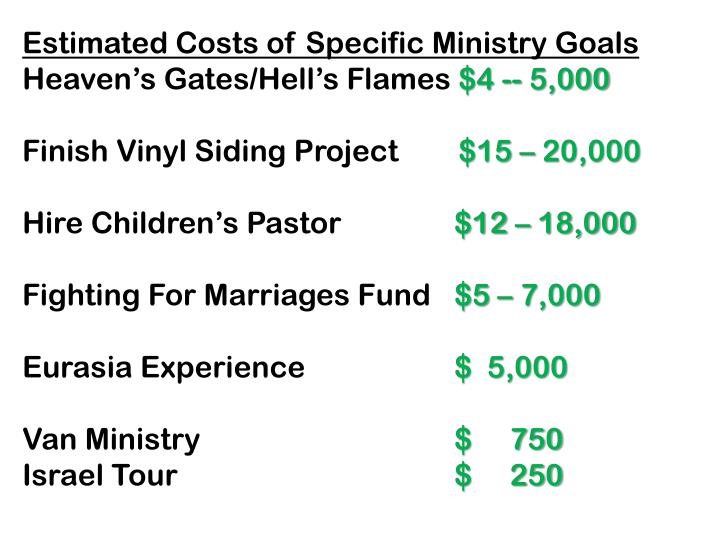 Estimated Costs of Specific Ministry Goals