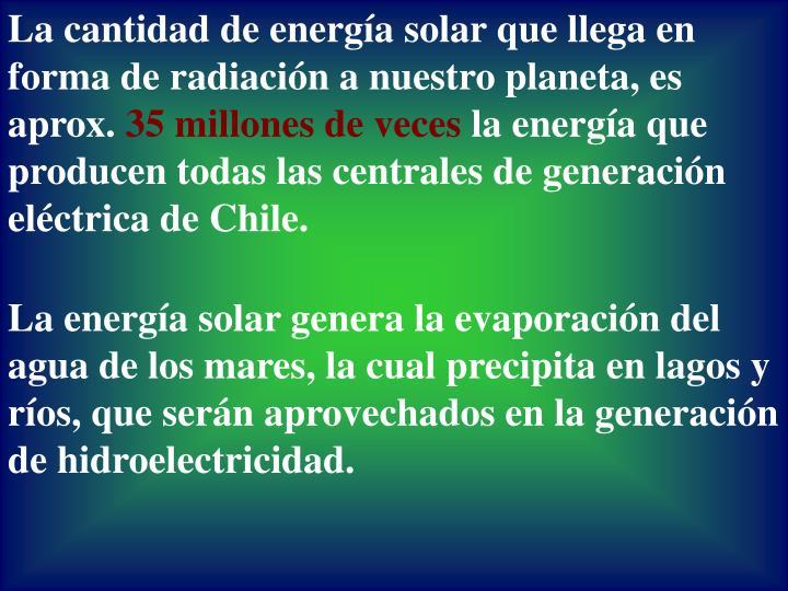 La cantidad de energía solar que llega en forma de radiación a nuestro planeta, es aprox.